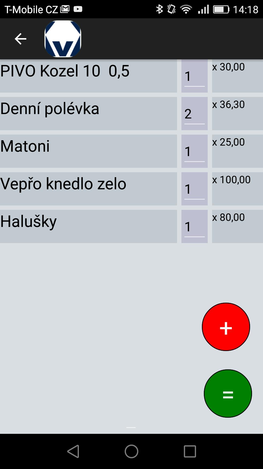 položková pokladna, EET pokladna s položkami, EET, položky, výbeěr z menu