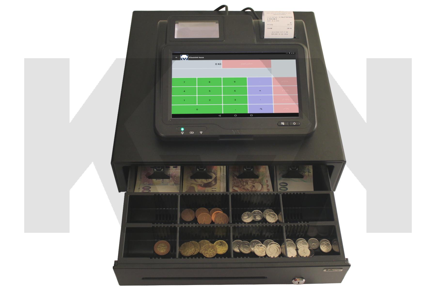 Stolní pokladna, pokladna na pult, EET, EET pokladna, EET kasa, malá pokladna, kapesní podkladna, pokladní terminál, android pokladna, pokladna se šuplíkem